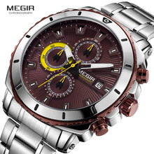 MEGIR Men's Quartz Wrist Watches with Stainless Steel Band Chronograph Business Stop Watch Man Clock Relogios Masculino MS2075