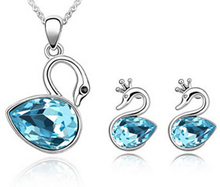 S057 Korean fashion Crystal  jewely sets lovely swan  Necklace + Earrings Two-piece Set
