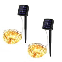 Solar LED String Light 10M 100LEDs Copper Wire Starry String Light for Party Holiday Bottle Trees Garland Decoration Warm White
