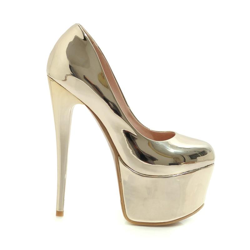WETKISS talon aiguille pompes hautes femmes bout rond chaussures parti plate-forme chaussures femme miroir chaussures en polyuréthane femme grande taille 33-48 - 2