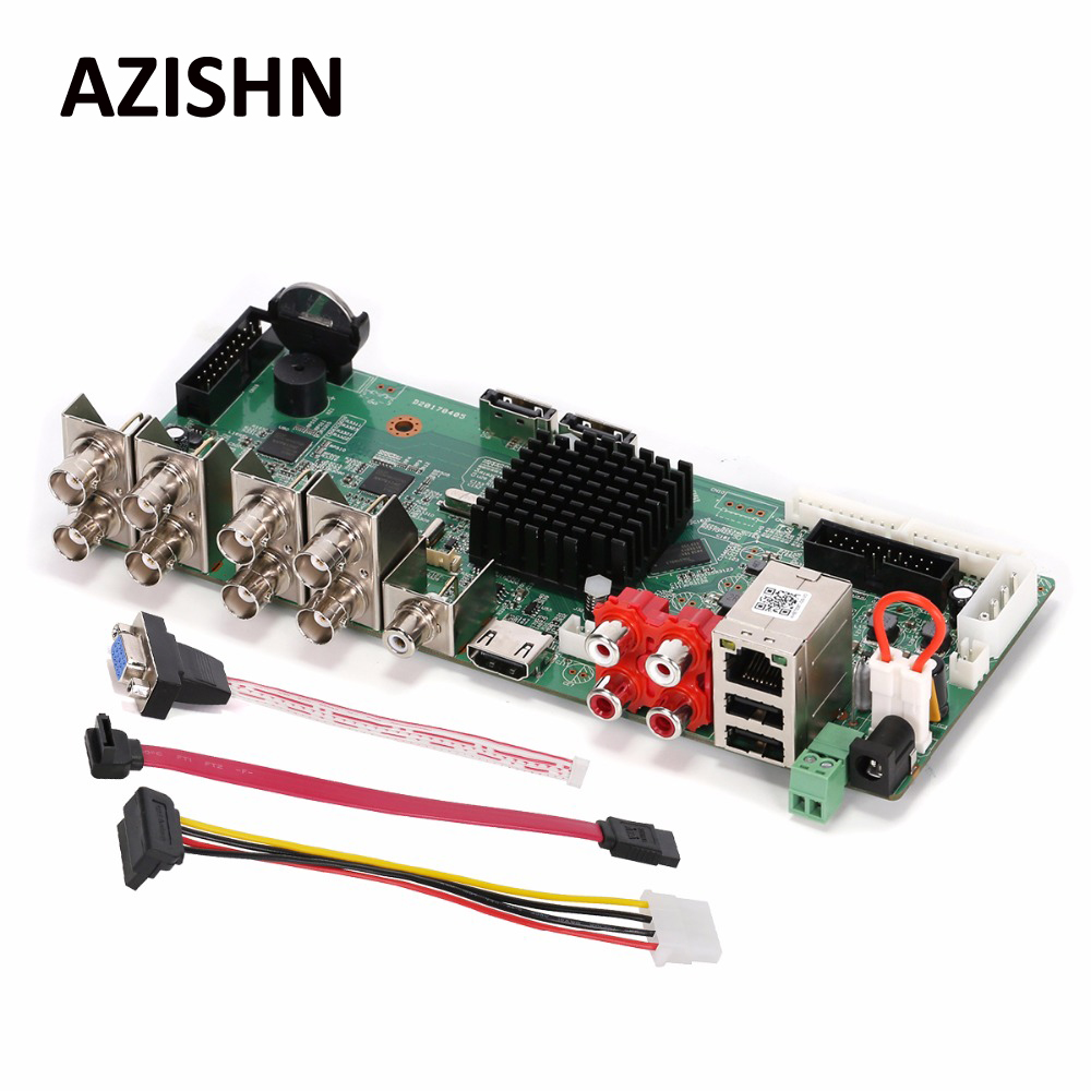 AZISHN HD H.264 +/H.264 AHD DVR 8CH 4MP видеонаблюдения TVI CVI AHD XVI аналоговый IP Гибридный VGA HDMI CCTV видео Регистраторы основной Borad