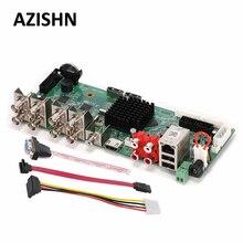 Azishn hd h.264 +/h.264 ahd dvr 8ch 4mp segurança cctv tvi cvi ahd xvi analógico ip híbrido vga hdmi cctv gravador de vídeo borad principal