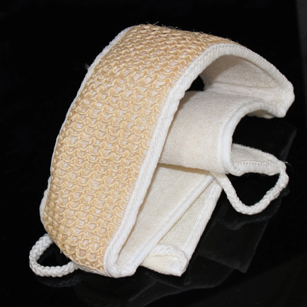 High Quality 1 PC Natural Loofah And Bamboo Fiber Cotton Bath Shower Back Strap Unisex Cleans Brush Body Spa Scrubber