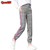 QoerliN England Style Elastic Waist Harem Pant Women Side Striped Gray Pocket Fashion Plaid Sweatpant Female