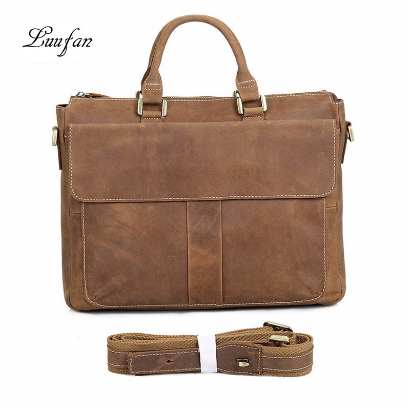 Briefcase Man Unisex Vintage Casual Brown Office work Businessmen Lawyers Doctors Convenient Crazy Horse Leather Real LeatherBriefcase Man Unisex Vintage Casual Brown Office work Businessmen Lawyers Doctors Convenient Crazy Horse Leather Real Leather