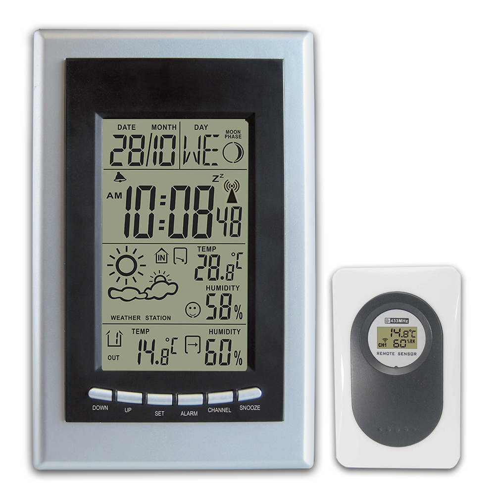 DYKIE RCC Weather Station Wireless Digital LCD Indoor Outdoor Thermometer Hygrometer Temperature Humidity Meter Alarm Clock купить