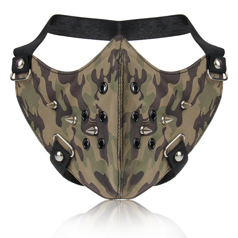 Punk Camouflage Face Mask Fashion Hip Hop Cool Men Women Half Face Motorcycle Mask Rivets Black Leather Halloween Party Masks