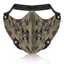 Punk Camouflage Face Mask Fashion Hip Hop Cool Men Women Half Face Motorcycle Mask Rivets Black Leather Halloween Party Masks