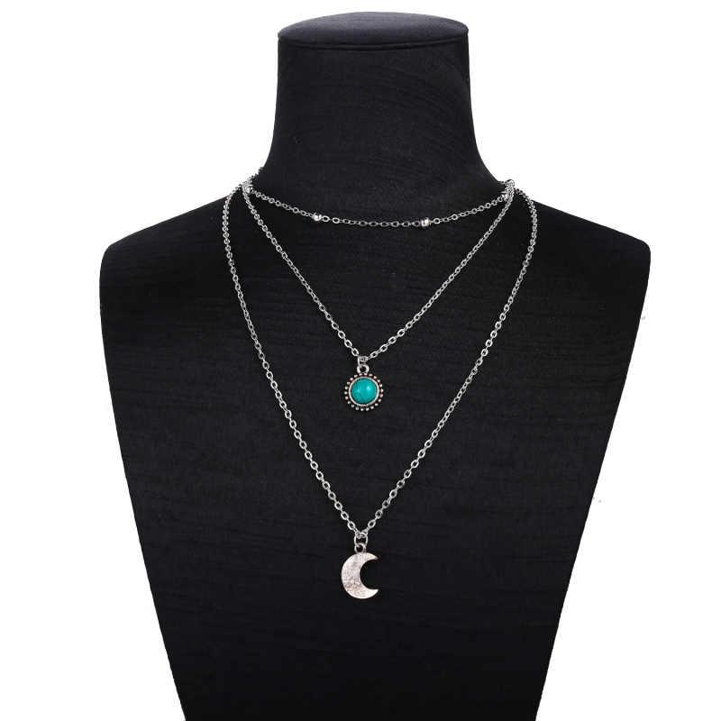 Collar multicapa de estrellas de media luna Vintage bohemio Collar COLGANTE de piedra verde de plata para mujer 2019 Collar de joyería de moda de regalo