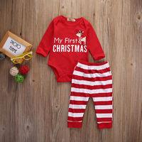 Newborn Baby Girls MY First Christmas Romper Bodysuit Stripe Pants 2Pcs Outfits
