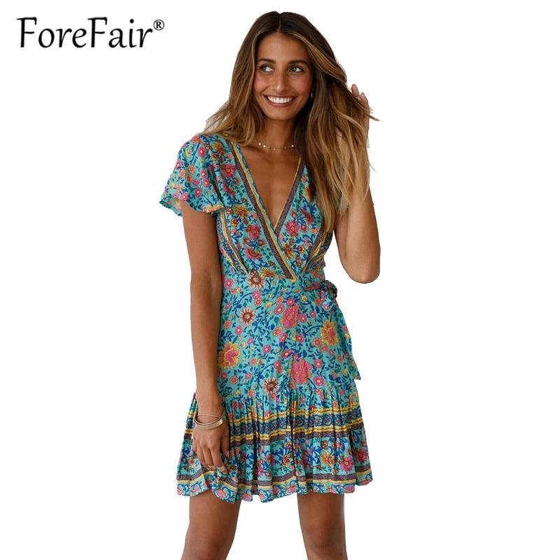 59c1102c0b8 Forefair Vintage Bohemian Dress 2019 Women Wrap Dress Sexy Mini A line V  Neck Short Sleeve Beach Wear Boho Print Summer Dresses-in Dresses from  Women s ...