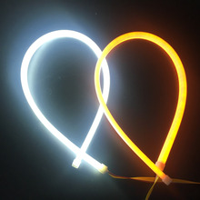 2pcs 60cm LED DRL Strip Flexible Angel Eyes Amber Flowing Running Lights Turn Signal Daytime For Hyundai Accent