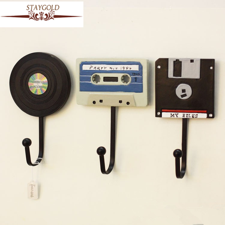 Vægkroge Shabby Chic Dekorative Tape Record Hooks Creative Hanger Decoration Art Hook 3 stk / 1 sæt