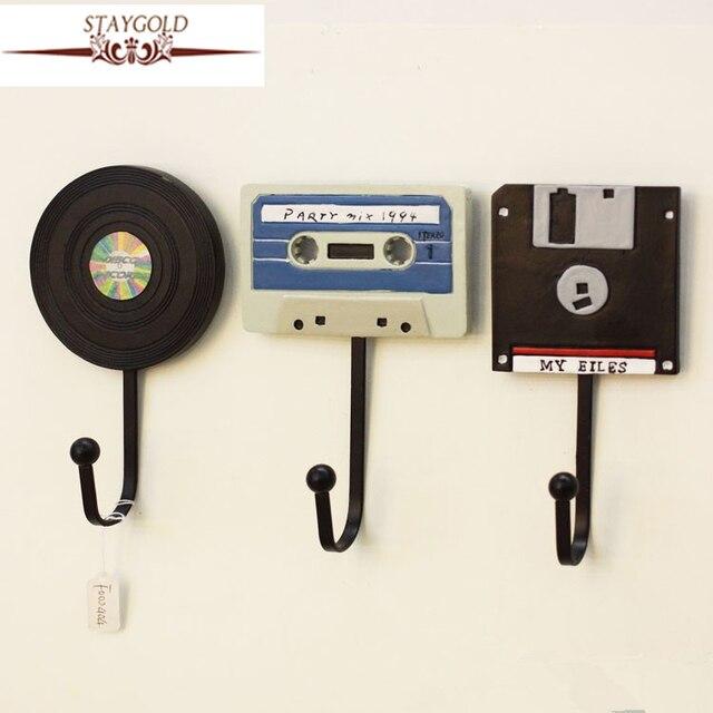 Wall Hooks Shabby Chic Decorative Tape Record Creative Hanger Decoration Art Hook 3pcs 1