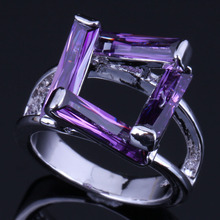 Admirable Rectangle Purple Cubic Zirconia 925 Sterling Silver Ring For Women V0613