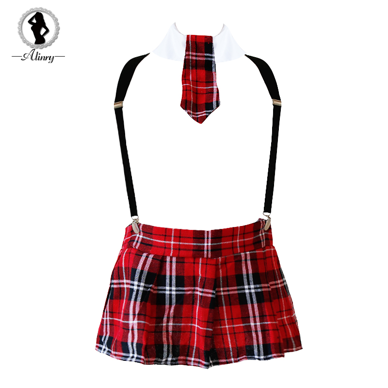Buy ALINRY 2018 Student Uniform Lingerie Sexy England Plaid Tie+Mini Skirt Erotic Babydoll Women Underwear Lenceria Cosplay Lingerie