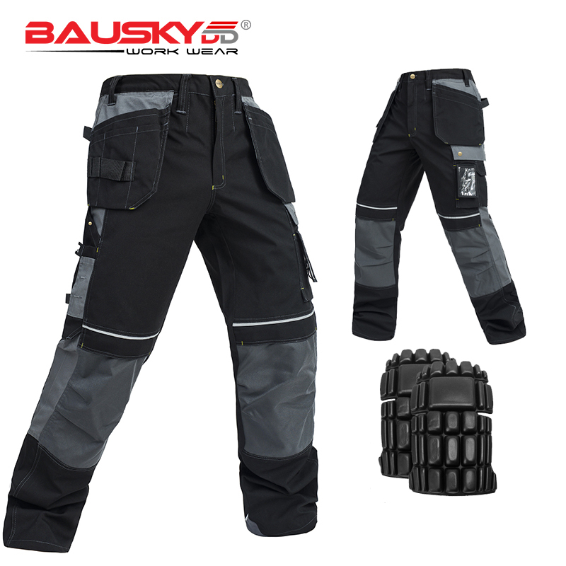 Men s Durable Floor Layers Workpants work trousers tool pants with knee pads