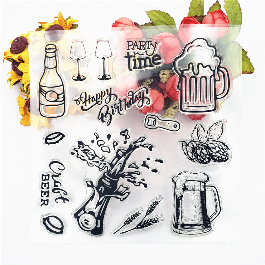 PANFELOU 14*14cm Beer carnival Transparent Silicone Rubber Clear Stamps cartoon for Scrapbooking/DIY Christmas wedding album