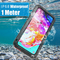 Shockproof 360 Full Body Protective Case For Samsung Galaxy A70 Phone Waterproof Metal Outdoor Sport Cover For Samsung A70 Cases