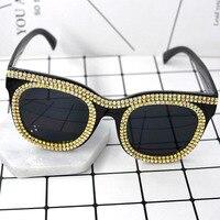2017 NEW Fashion Original Design Women Sunglasses Vintage Exaggerate Sunglasses For Female Luxury Crystal Cat S