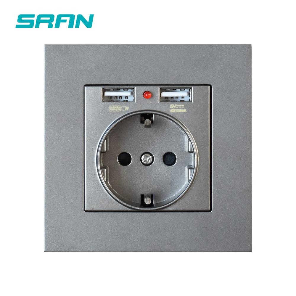 SRAN EU power socket,socket with USB ,16A 250V dual usb 5V 2A White/Black PC Panel 86mm*86mm wall usb socket smart LED on/off 5