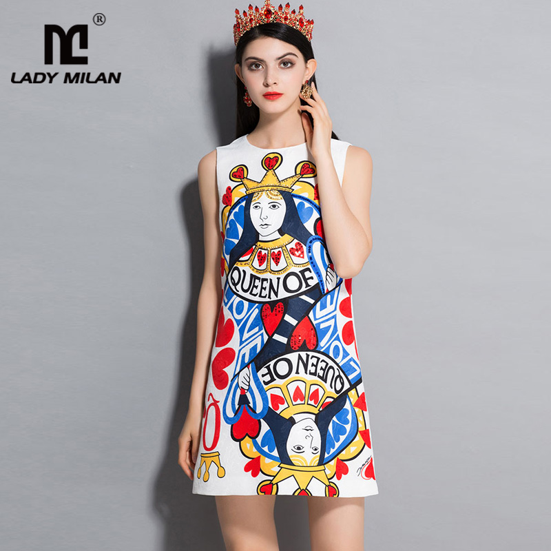 New Arrival 2018 Womens O Neck Sleeveless Printed Rhinestones Beaded Fashion Designer Runway Dresses