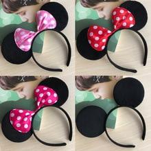 Дисней красоты Микки Минни ободок для волос с украшением в виде мыши праздничные вечерние головные уборы ушные волосы пряжки