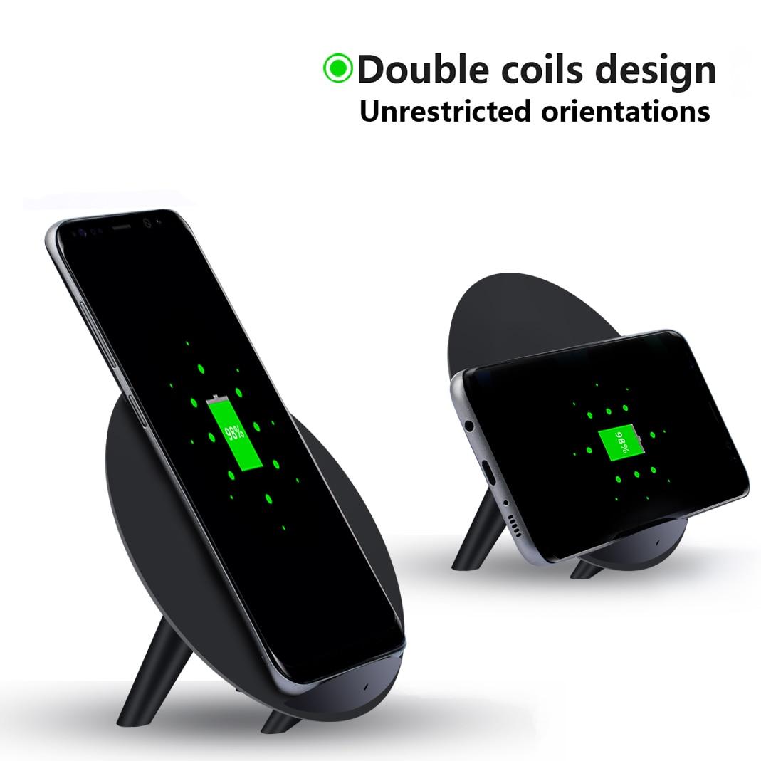 Круглый Quick Charge 10 Вт QI Беспроводной Зарядное устройство передатчика Plate Pad подставка для Samsung Galaxy S9 S7 край S8 плюс для iphone 8 Plus x