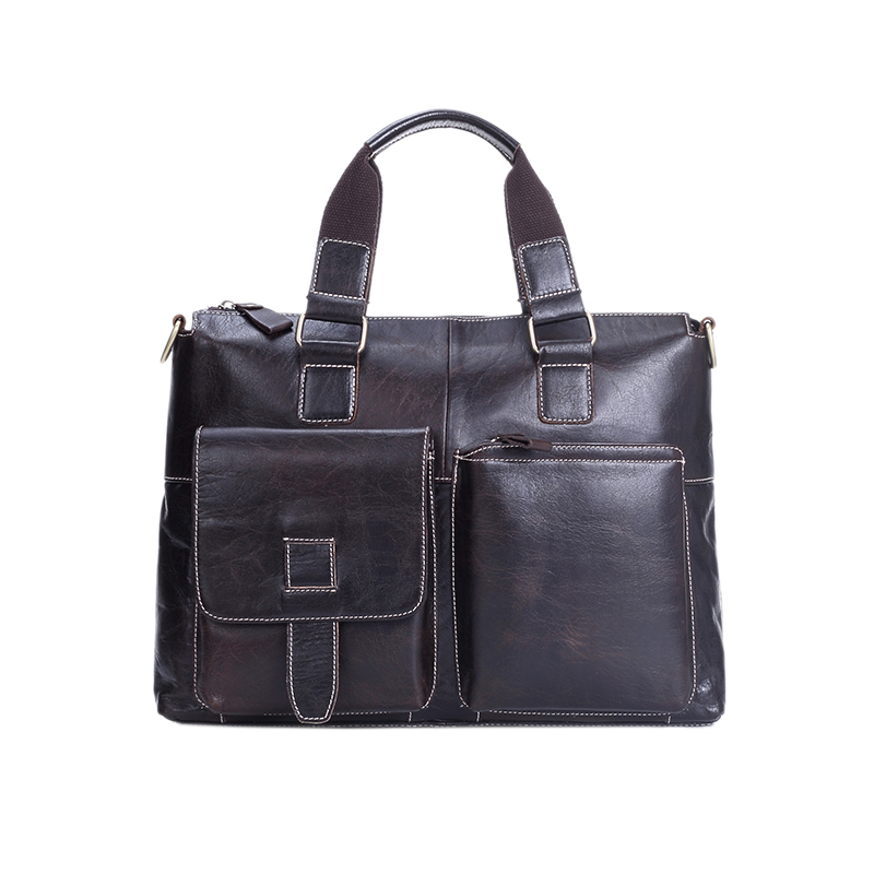 ФОТО Genuine Leather Men Handbags Fashion High Quality Brand Crossbody Bags Male Briefcase
