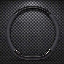 KKYSYELVA D Форма рулевого колеса черный авто кожаный чехол на руль 38 см колеса Обложка предметы интерьера