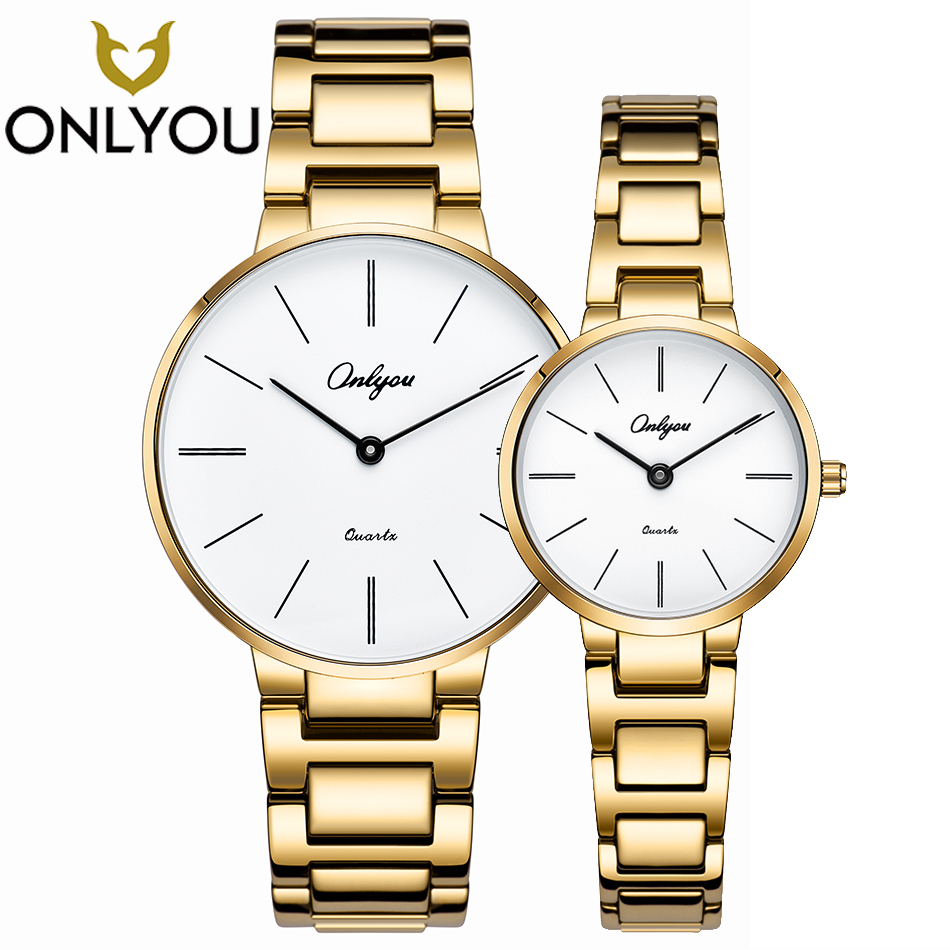 ONLYOU Lover Watch Casual in Men's Watches Women Elegant Luxury Men Stainless Steel Quartz Wristwatch Dress Gold Lover's Gift women men quartz silver watches onlyou brand luxury ladies dress watch steel wristwatches male female watch date clock 8877