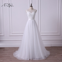 ADLN Scoop Sleeveless New A Line Wedding Dress Illusion Bodice A Line Simple Tulle Cheap Bridal