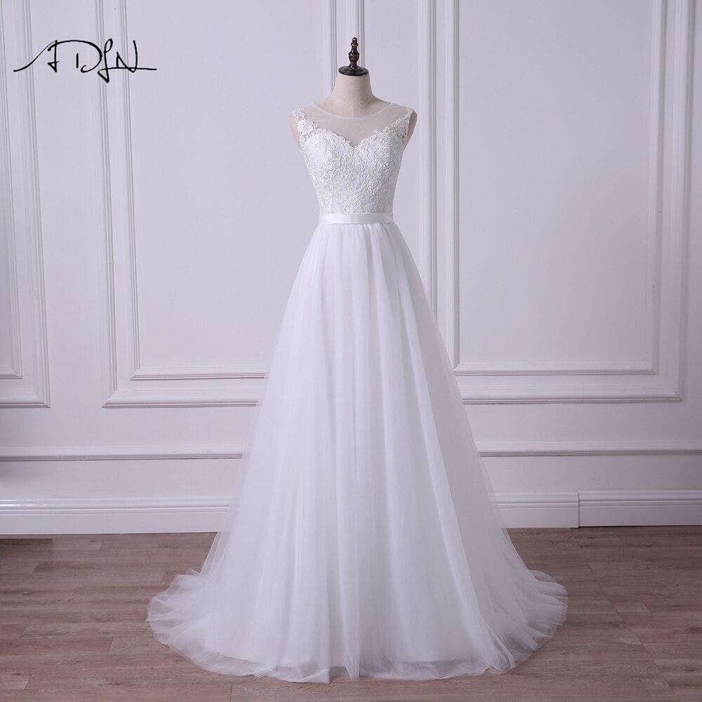 ADLN 2018 Scoop A-line vestido de Novia de encaje ilusión corpiño Simple blanco/Marfil Sexy vestido de Novia de talla grande Vestidos de Novia