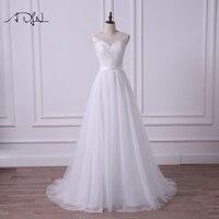 ADLN 2019 Scoop A line Lace Wedding Dress Illusion Bodice Simple White/Ivory Sexy Plus Size Bridal Gown Vestidos de Novia