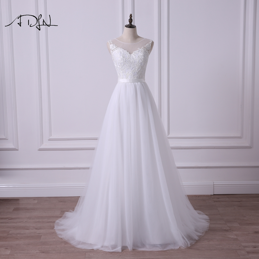 ADLN 2020 Scoop A-line Lace Wedding Dress Simple White/Ivory Tulle Stock Plus Size Bridal Gown Vestidos De Novia