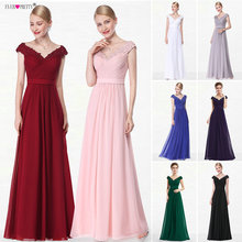 Купить с кэшбэком Long Bridesmaid Dresses V Neck Chiffion Ever Pretty HE08633 Hot Sale 2016 New Arrival Women's Sexy Dresses