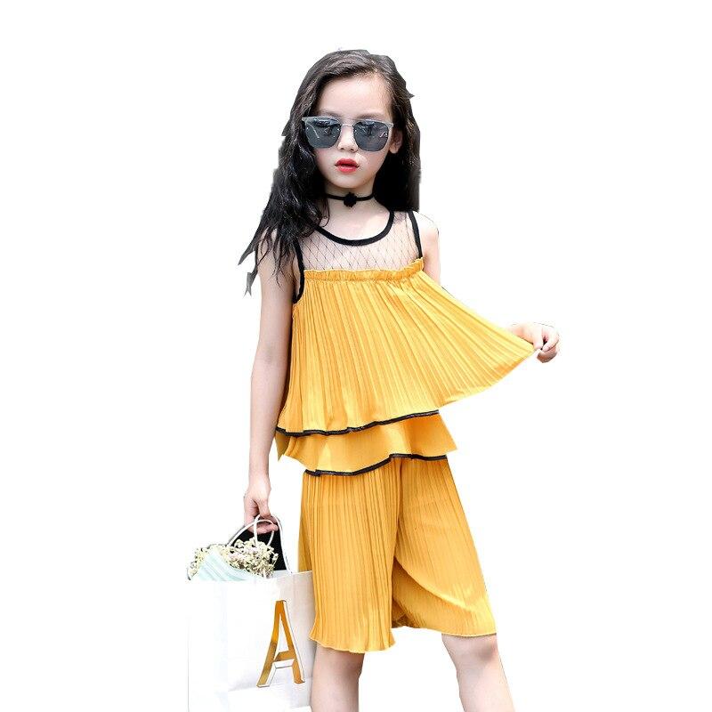 Summer Girls Clothing Set 2018 Sleeveless Chiffon Shirt + Pant 2pcs Children Clothes For 3 4  5 6 7 8 9 10 11 12 Years Bab Set