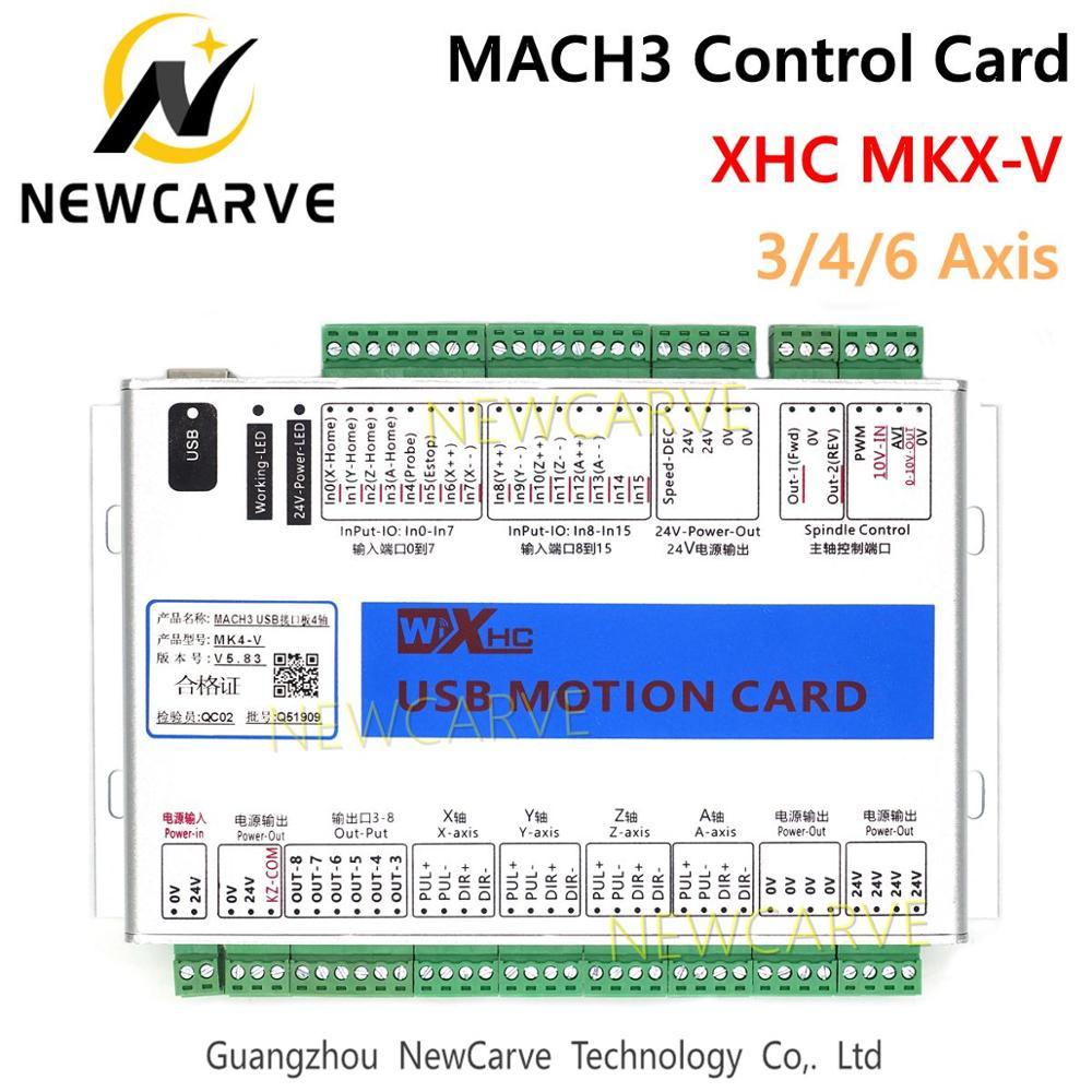 Xhc mach3 usb breakout board 3 4 6 axis MKX-V 5 geração usb cartão de controle de movimento 2 mhz suporte windows 7,10 newcarve
