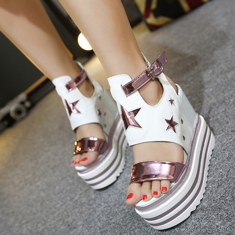 ФОТО Summer nightclub 14cm super high heel platform shoes Within the higher slope with waterproof hollow sexy sandals women