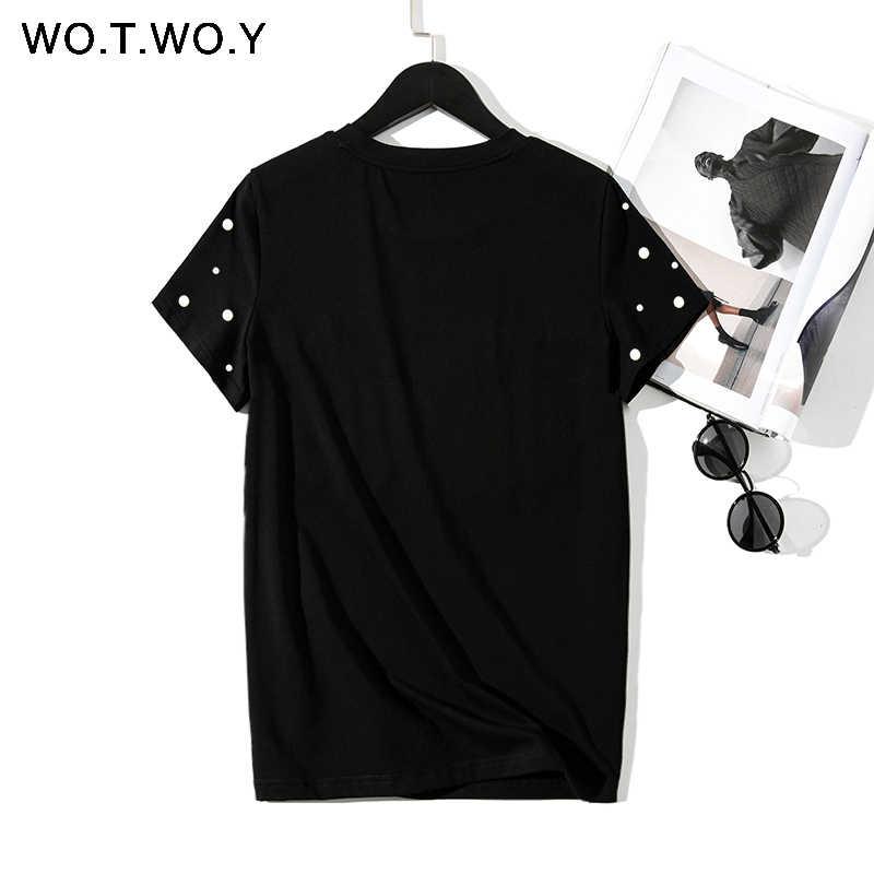 WOTWOY 2019 夏新真珠ビーズ Tシャツ女性綿トップス女性半袖 O ネック Tシャツ黒高品質