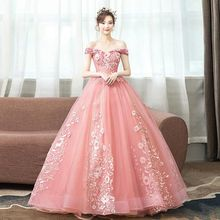 Prom Dress Boat Neck Vestidos De Gala Sexy Embroidery Women Party Night Dresses 2019 Plus Size off the shoulder Gowns E714