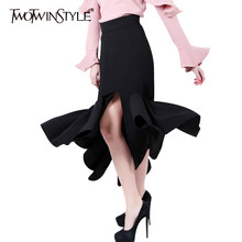 TWOTWINSTYLE 2019 Women Front Split Mermaid Pencil Skirt Bodycon Midi Long Asymmetrical Ruffle Hem Sexy High Waist Party Clothes(China)