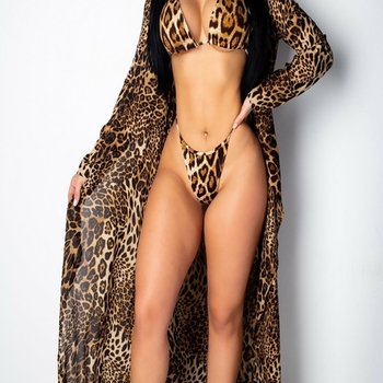 Leopard Print Bikini Swimsuit Swimwear with Bikini Cover Up 2