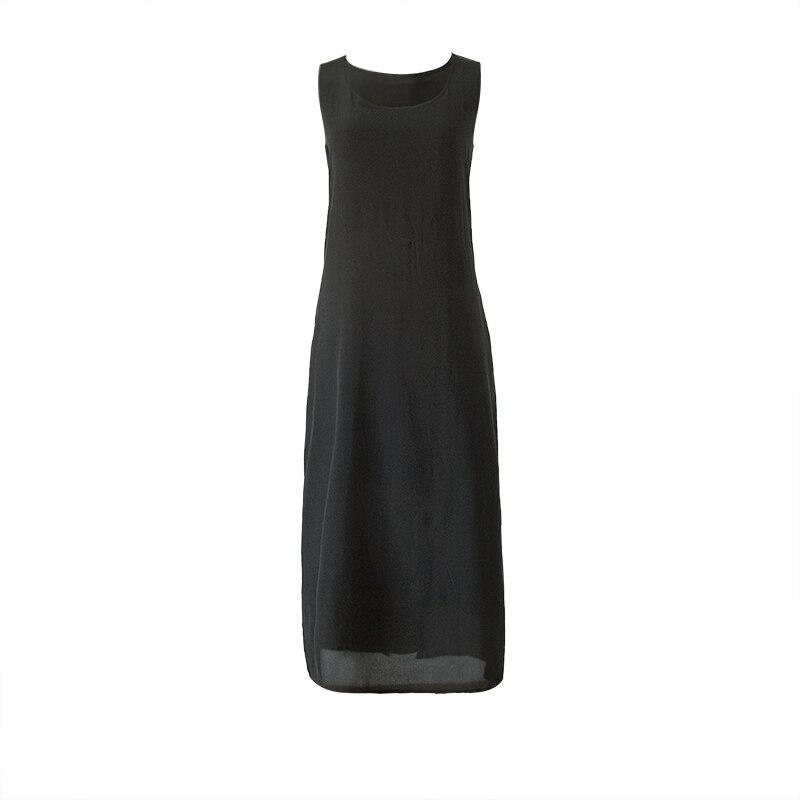Femmes longue robe 19 MM 100% soie sans manches robe solide vin noir poches robes 2018 été-in Robes from Mode Femme et Accessoires    2
