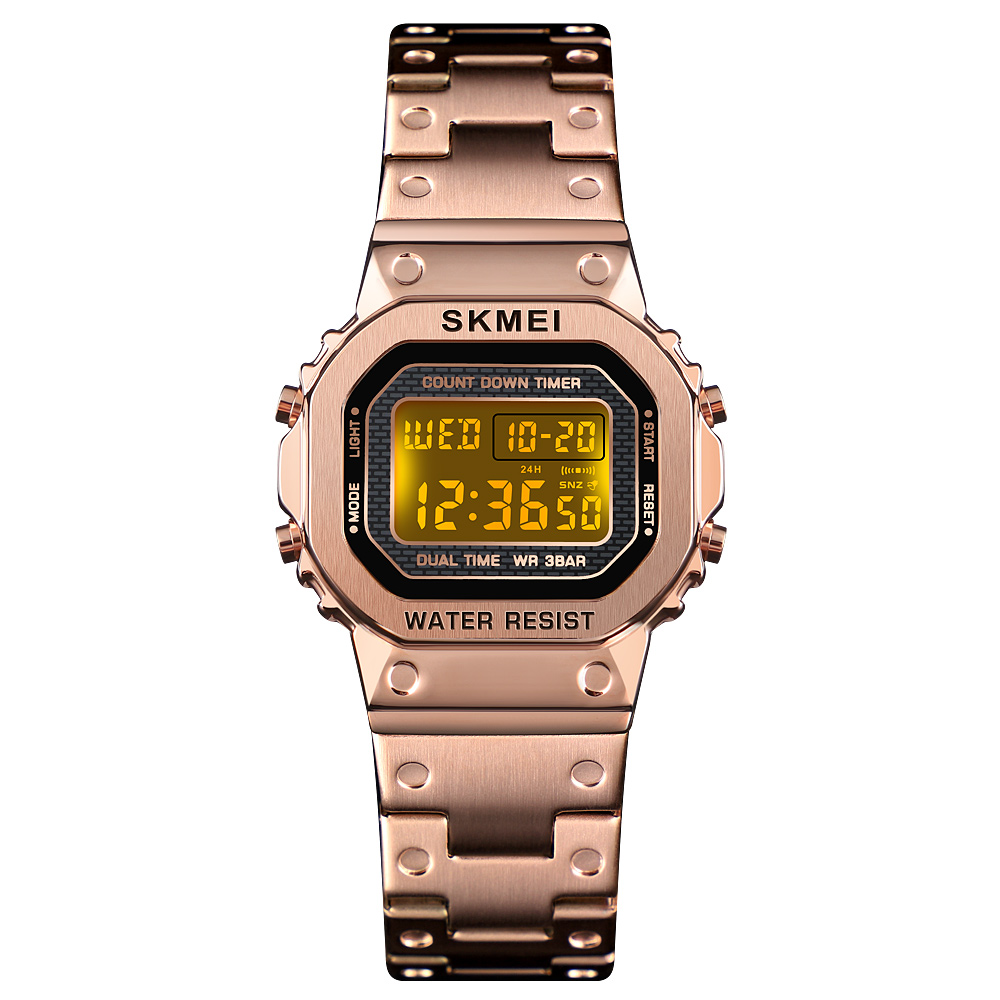 SKMEI1433 Women Dress Countdown Watches Waterproof Casual Watch Steel Digital Wristwatch Clock Relogio Masculino Erkek Kol Saati image