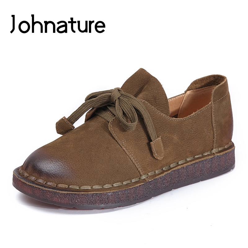 Johnature 2019 New Spring Autumn Genuine Leather Lace up Round Toe Solid Casual Retro Cross tied