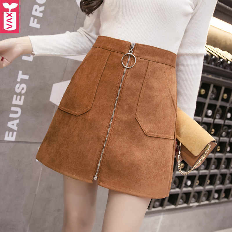 High Quality Brand 2019  Femme Brown Suede A-Line Skirts Womens High Waist Pockets Round Zipper Office Formal Skirts XXL