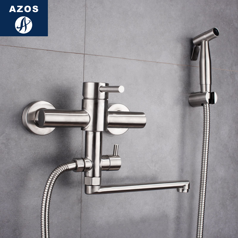 Azos Bidet Faucet Pressurized Sprinkler Head Brass Chrome Cold and Hot Switch Two Function Toilet Pet Bath Shower Room Round PJP