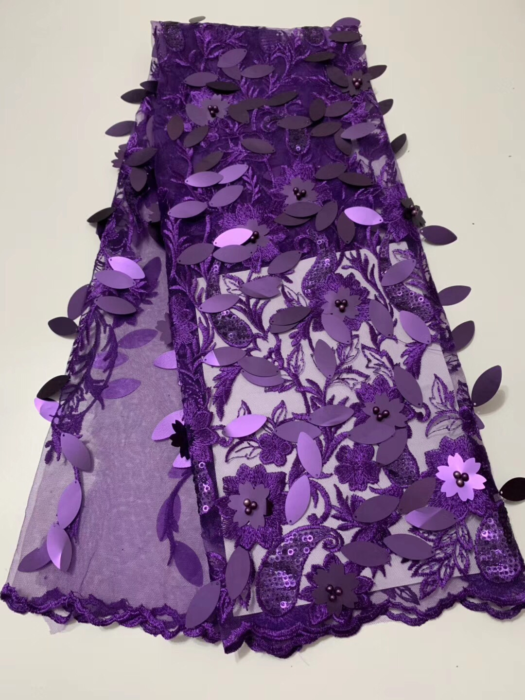 2019 Latest African 3D Lace Fabric High Quality Purple Nigerian Lace French Sequins And Beads Lace