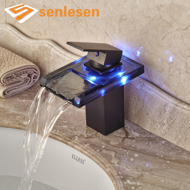 Wholesale And Retail LED Color Change Waterfall Bathroom Basin Faucet Oil Rubbed Bronze Sink Mixer Tap wholesale and retail contemporary oil rubbed bronze led waterfall